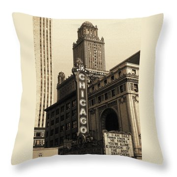 Old Chicago Theater - Vintage Art Throw Pillow