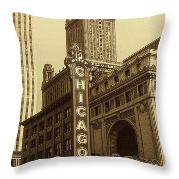 Old Chicago Theater - Vintage Photo Art Print Throw Pillow