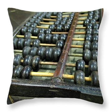 Old Chinese Abacus Throw Pillow by Yali Shi