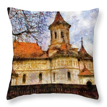 Old Church With Red Roof Throw Pillow