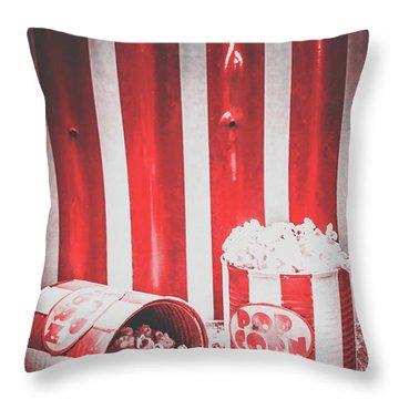 Old Cinema Pop Corn Throw Pillow