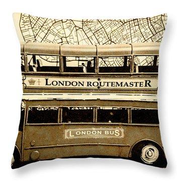 Old City Bus Tour Throw Pillow