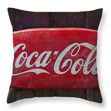 Old Coca-cola Sign On Barn Throw Pillow by Garry Gay
