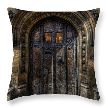 Old College Door - Oxford Throw Pillow