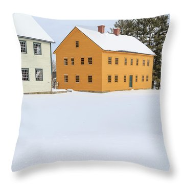 Old Colonial Wood Framed Houses In Winter Throw Pillow