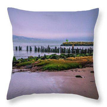 Old Columbia River Docks Throw Pillow