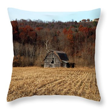 Old Country Barn In Autumn #1 Throw Pillow