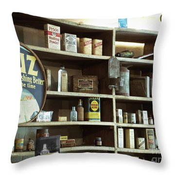 Old Country Store Shelves Throw Pillow