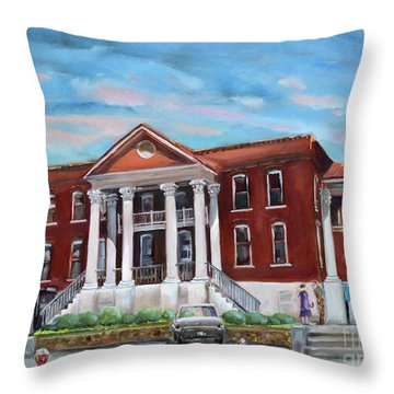 Throw Pillow featuring the painting Old Courthouse In Ellijay Ga - Gilmer County Courthouse by Jan Dappen