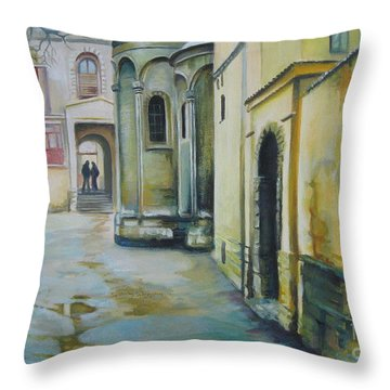 Throw Pillow featuring the painting Old Courtyard by Elena Oleniuc