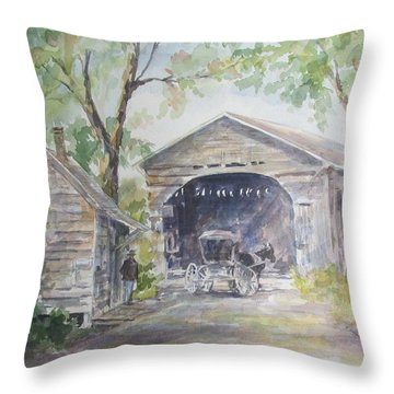 Old Cover Bridge At Pee Dee River Throw Pillow by Gloria Turner