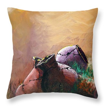 Old Cracked Pots-sold Throw Pillow by Gary Smith