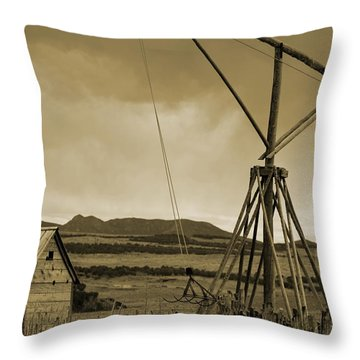 Old Crane And Shed Utah Countryside In Sepia Throw Pillow
