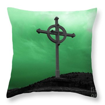 Old Cross - Green Sky Throw Pillow