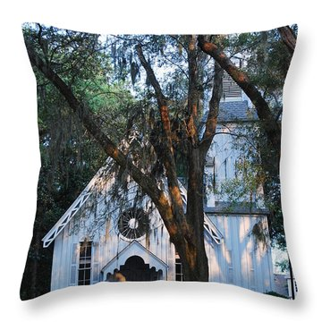 Throw Pillow featuring the photograph Old Cypress Church by Margaret Palmer