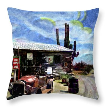 Old Desert Gas Station Throw Pillow