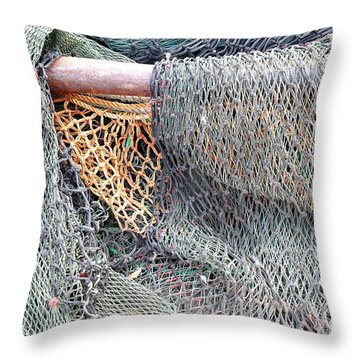 Throw Pillow featuring the photograph Old Discarded Fishing Nets by Yali Shi