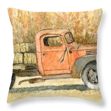 Old Dodge Truck In Autumn Throw Pillow