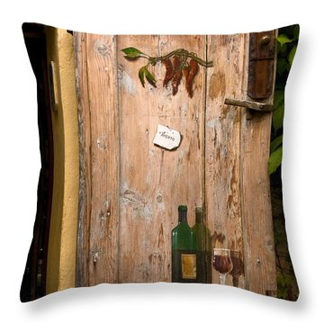 Old Door And Wine Throw Pillow by Sally Weigand