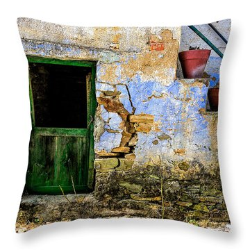 Old Door In Portugal Throw Pillow