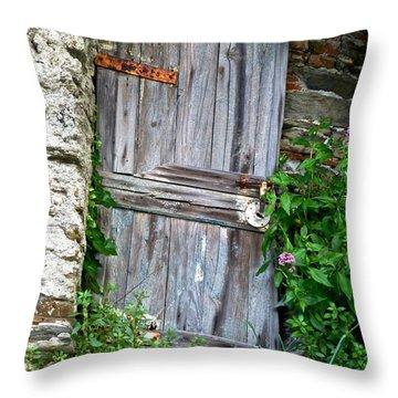 Old Door In Vernazza Throw Pillow