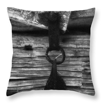 Old Door Latch Throw Pillow by Richard Rizzo