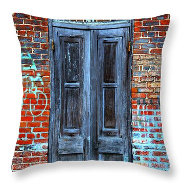 Old Door With Bricks Throw Pillow by Perry Webster