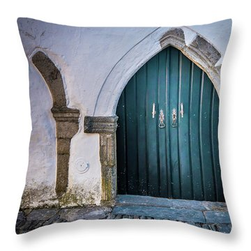 Old Doorway In Monsaraz Throw Pillow