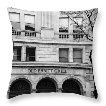 Old Ebbitt Grill Facade Black And White Throw Pillow
