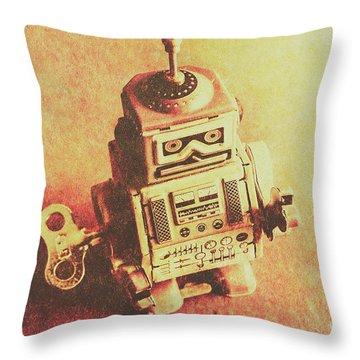 Old Electric Robot Throw Pillow