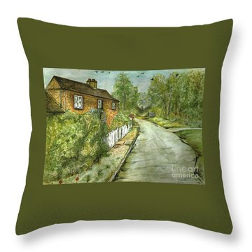Throw Pillow featuring the painting Old English Cottage by Teresa White