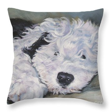 Old English Sheepdog Pup Throw Pillow by Lee Ann Shepard