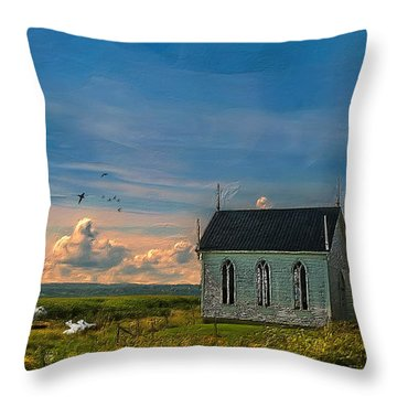 Old Evangeline Church Throw Pillow by Ken Morris