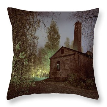 Old Factory Ruins Throw Pillow