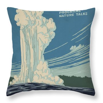 Old Faithful At Yellowstone Throw Pillow by Unknown