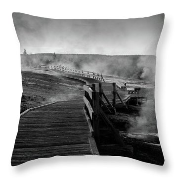 Old Faithful Boardwalk Throw Pillow