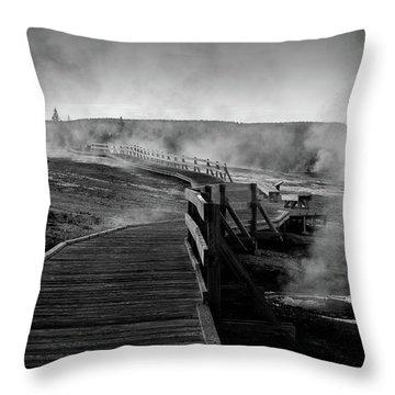 Old Faithful Boardwalk Throw Pillow