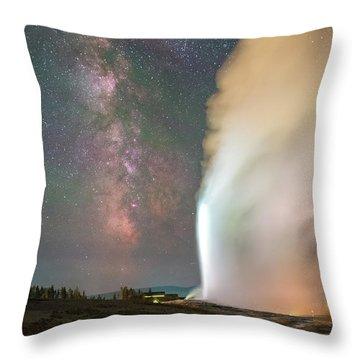 Old Faithful Erupts At Night Throw Pillow