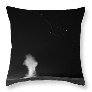 Old Faithful Night Eruption Under The Big Dipper Bw Throw Pillow