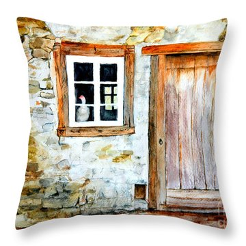 Throw Pillow featuring the painting Old Farm House by Sher Nasser