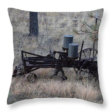 Old Farm Implement Lake George Co Throw Pillow