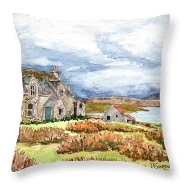 Old Farm Isle Of Lewis Scotland Throw Pillow