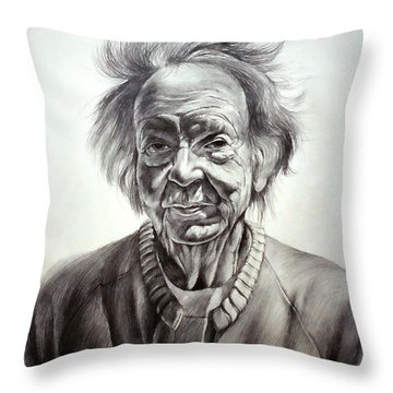 Old Farm Lady Throw Pillow