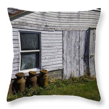 Old Farm Milk Cans Throw Pillow