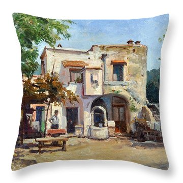 Throw Pillow featuring the painting Old Farm by Rosario Piazza