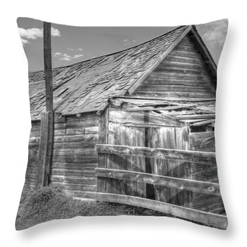 Old Farm Shed In Monochrome Throw Pillow by Jim Sauchyn