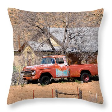 Old Farm Trucks Along Route 66 Throw Pillow