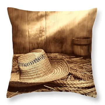 Old Farmer Hat And Rope Throw Pillow