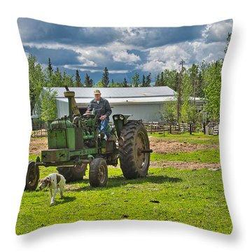 Old Farmer Old Tractor Old Dog Throw Pillow