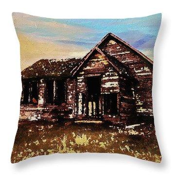Throw Pillow featuring the digital art Old Farmhouse by PixBreak Art